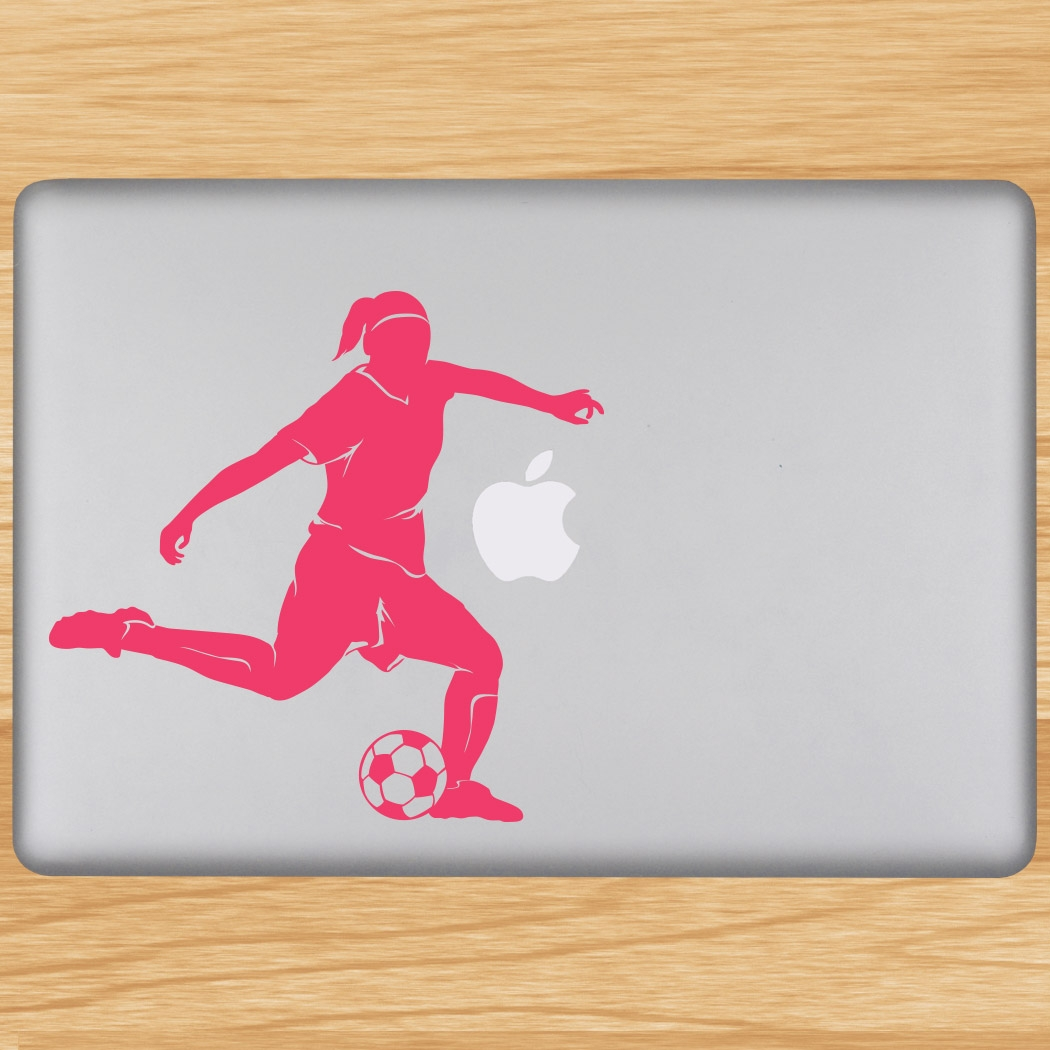 Soccer Player Girl Silhouette Removable ChalkTalkGraphix Laptop Decal Click  to Enlarge