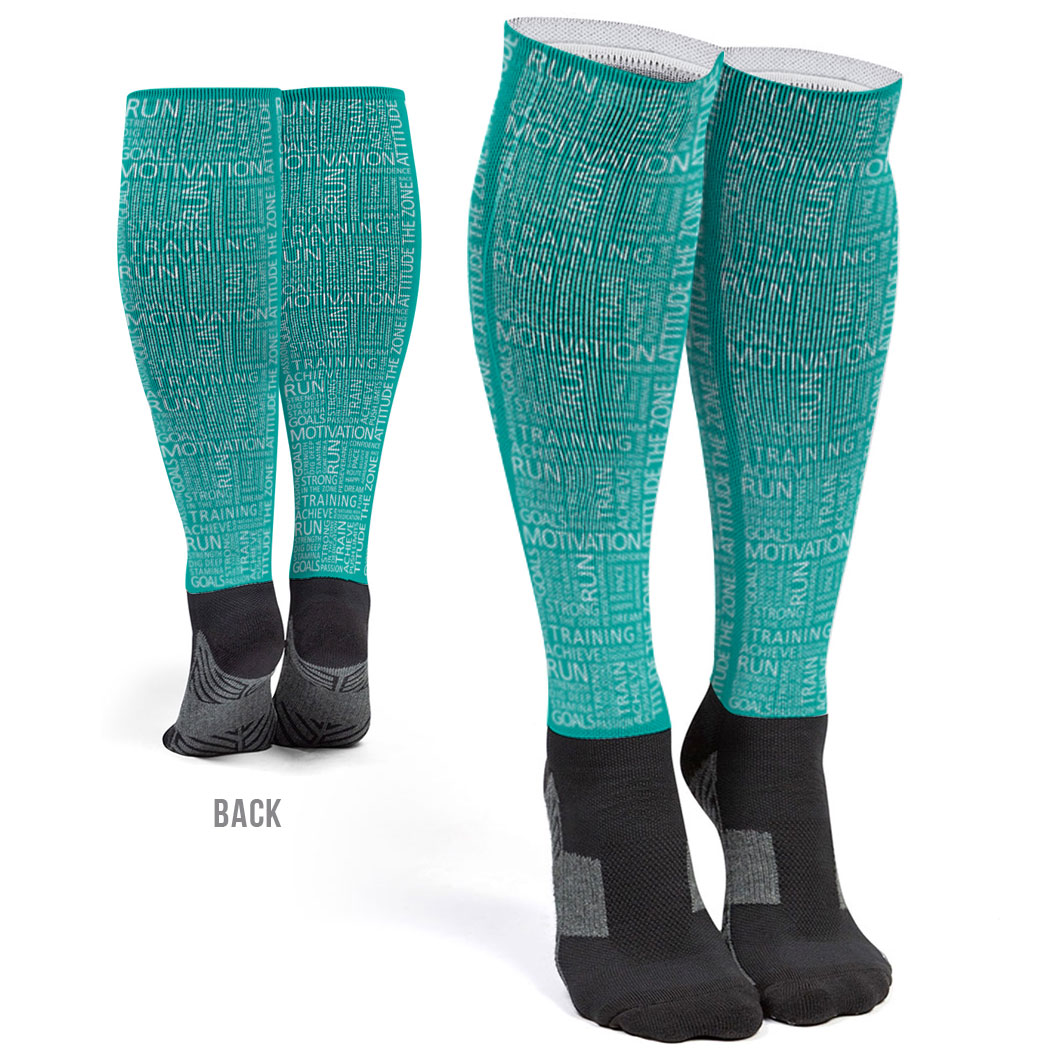Running Printed Knee-High Socks - Running Motivation