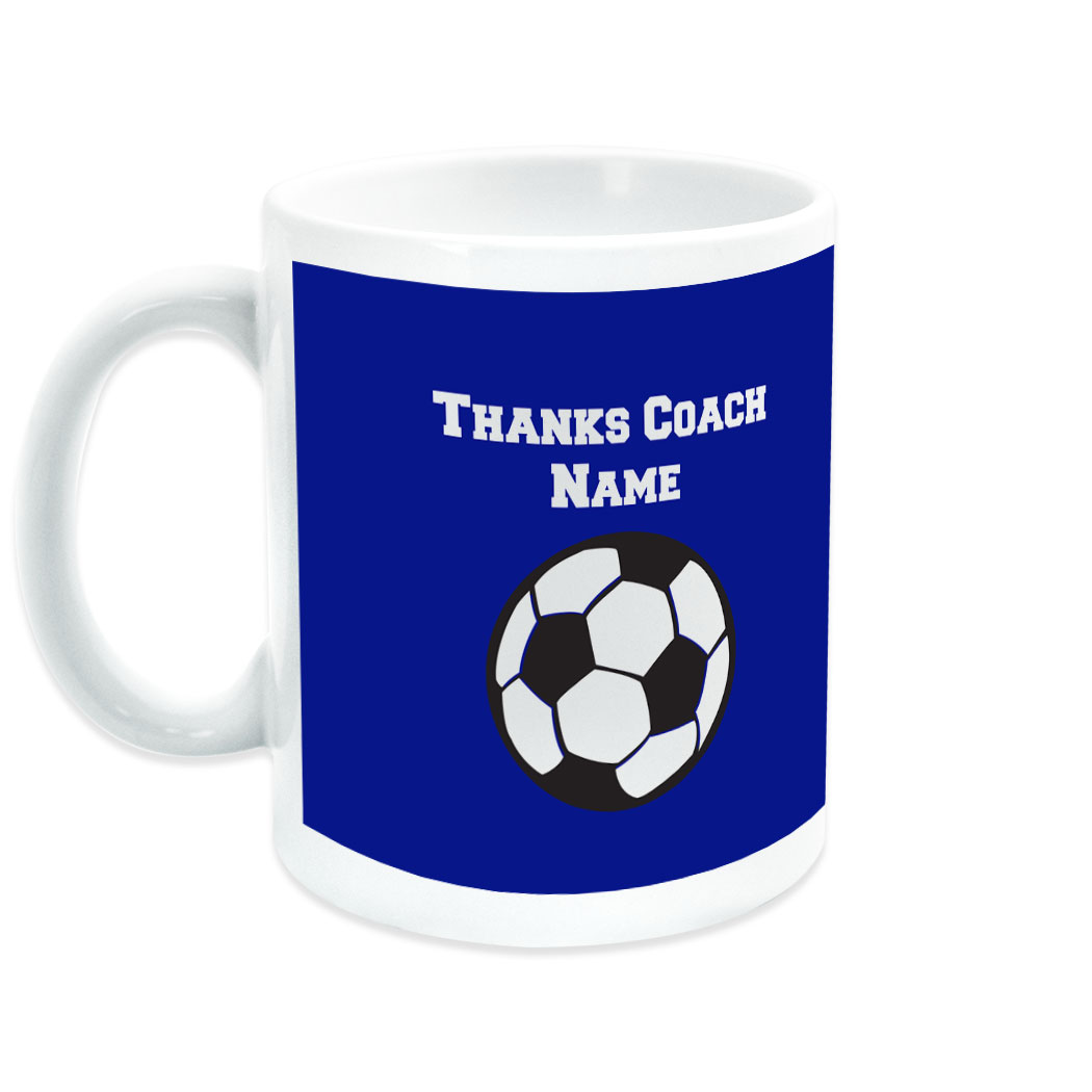 Soccer Coffee Mug Thanks Coach Ball Graphic With Team Roster - Personalization Image