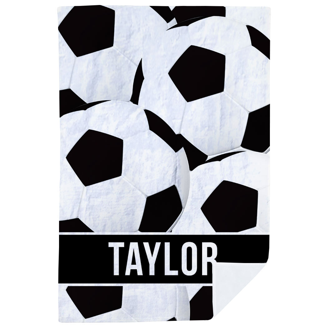 Soccer Premium Blanket - Personalized Ball Pattern - Personalization Image