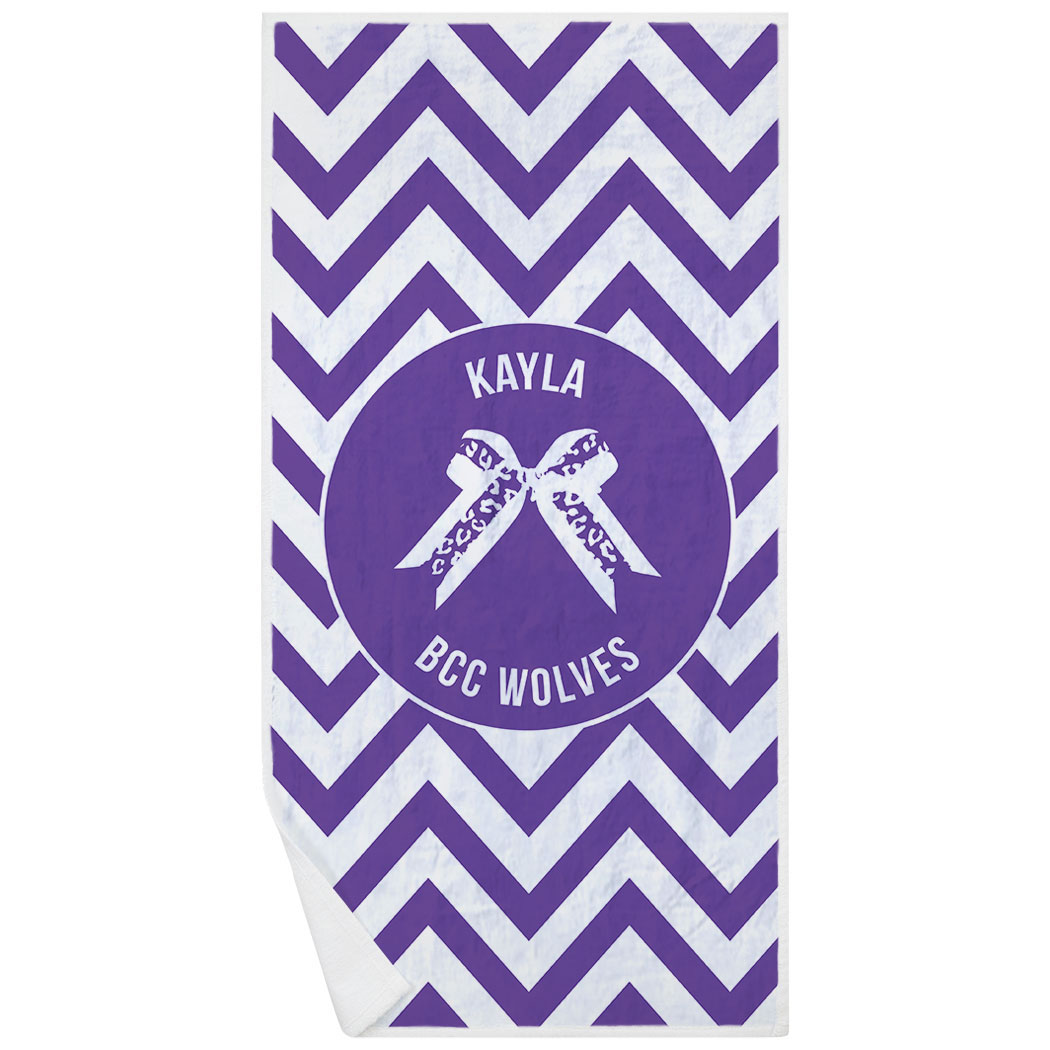 Cheerleading Premium Beach Towel - Personalized Bow with Chevron