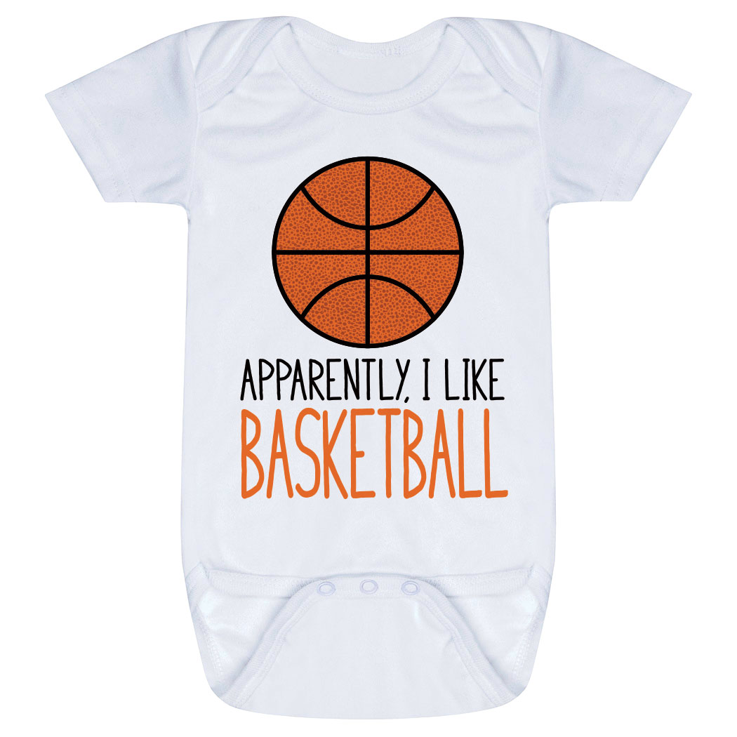 Basketball Baby One-Piece - Apparently, I Like Basketball - Personalization Image