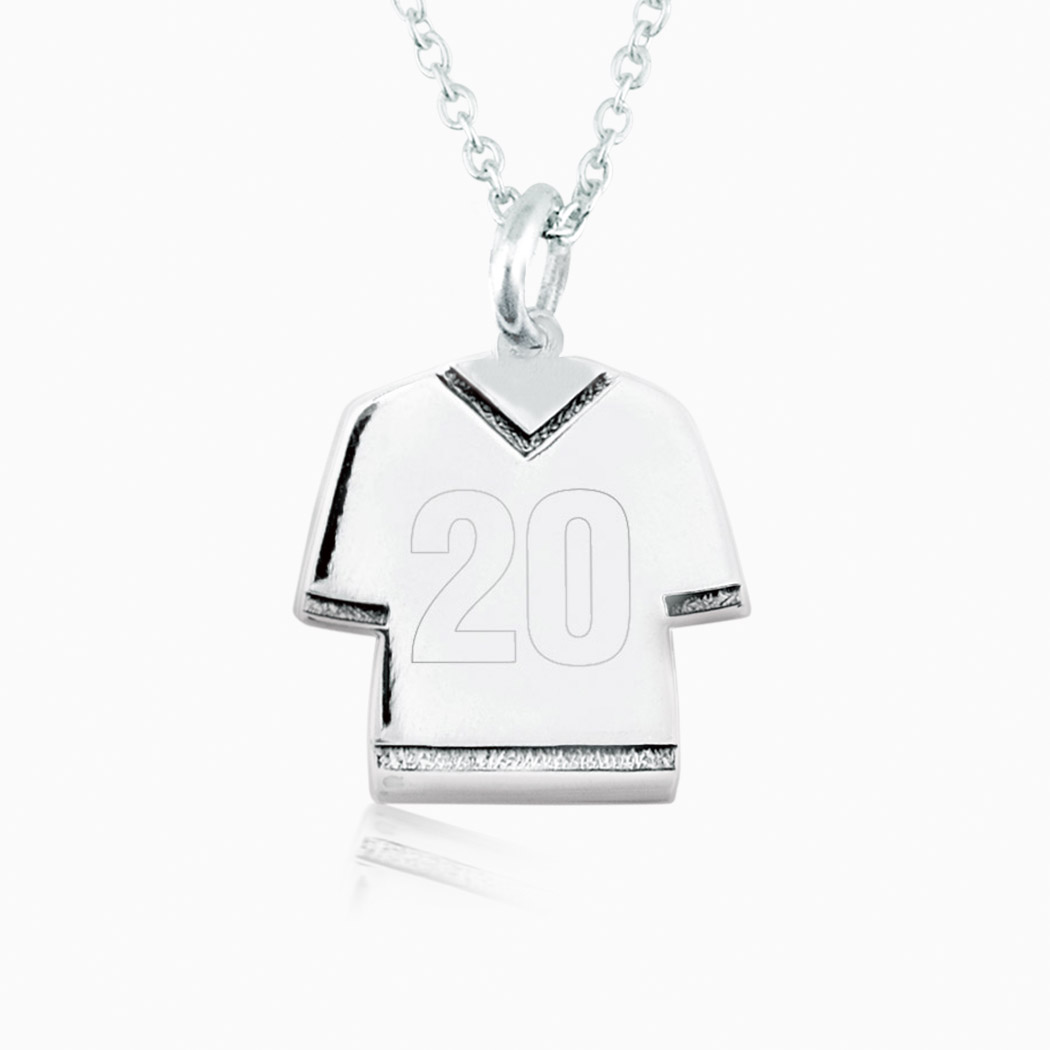 Sterling Silver Personalized Jersey Necklace Number
