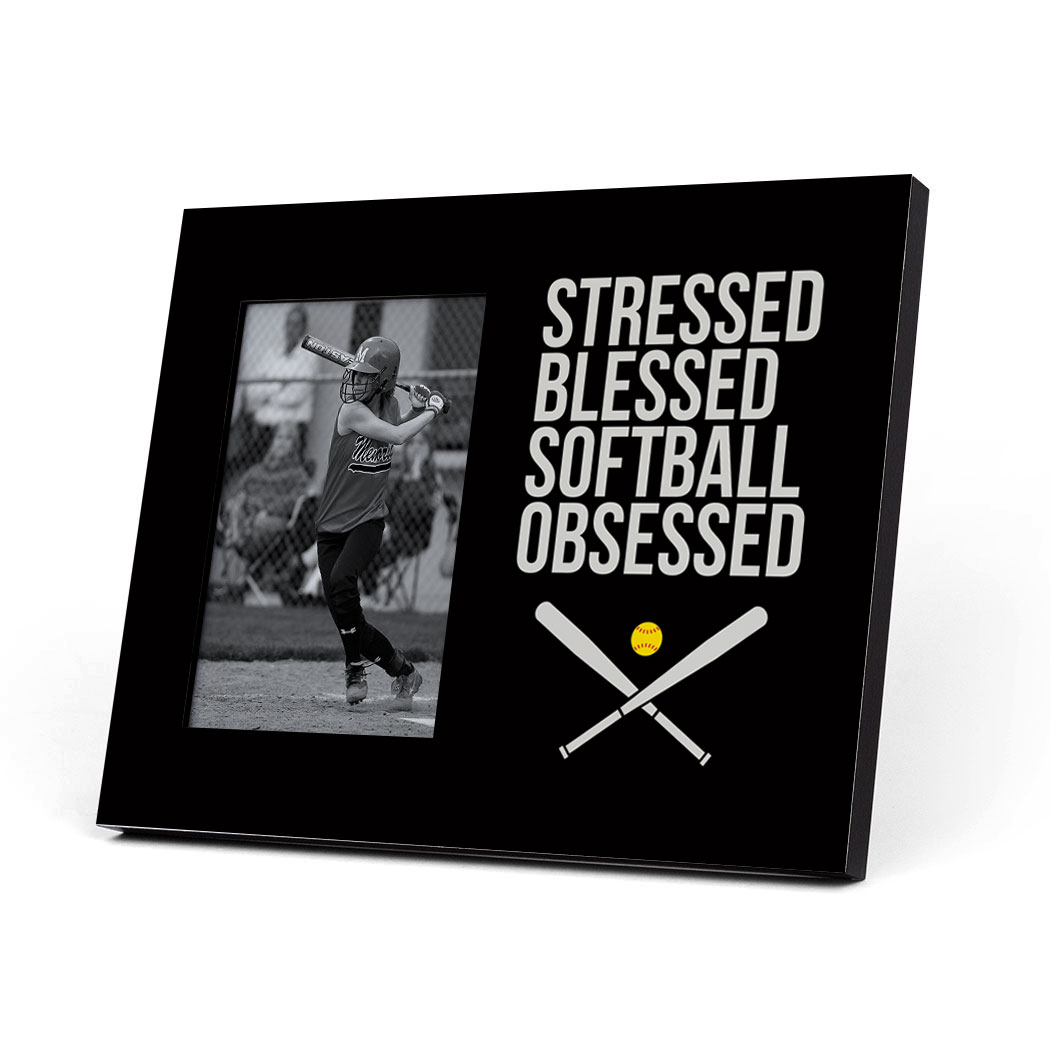 Softball Photo Frame - Stressed Blessed Softball Obsessed