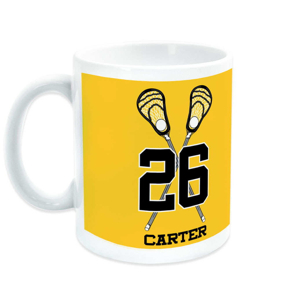 Guys Lacrosse Coffee Mug Personalized Crossed Guy Sticks with Big Number