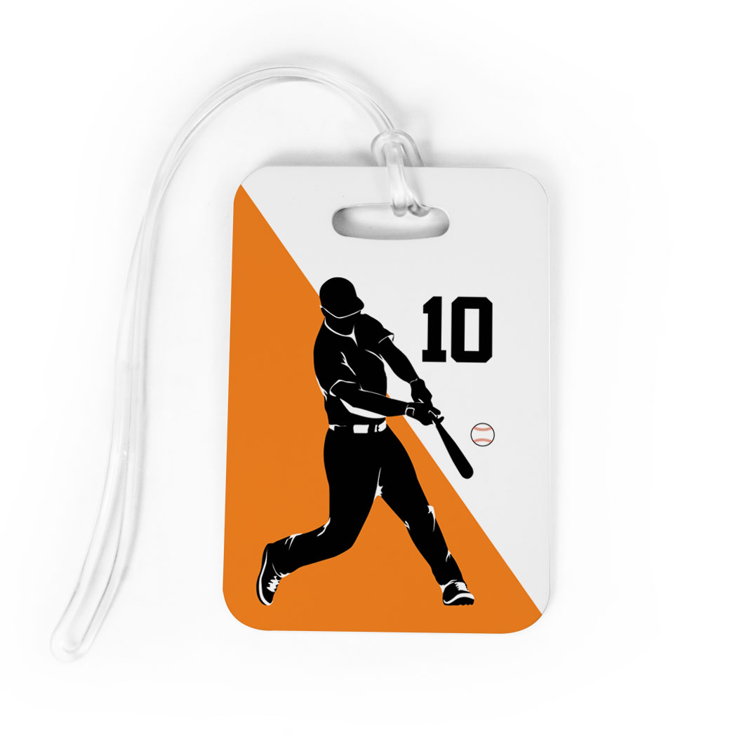 Baseball Bag/Luggage Tag - Personalized Baseball Player Silhouette Guy - Personalization Image