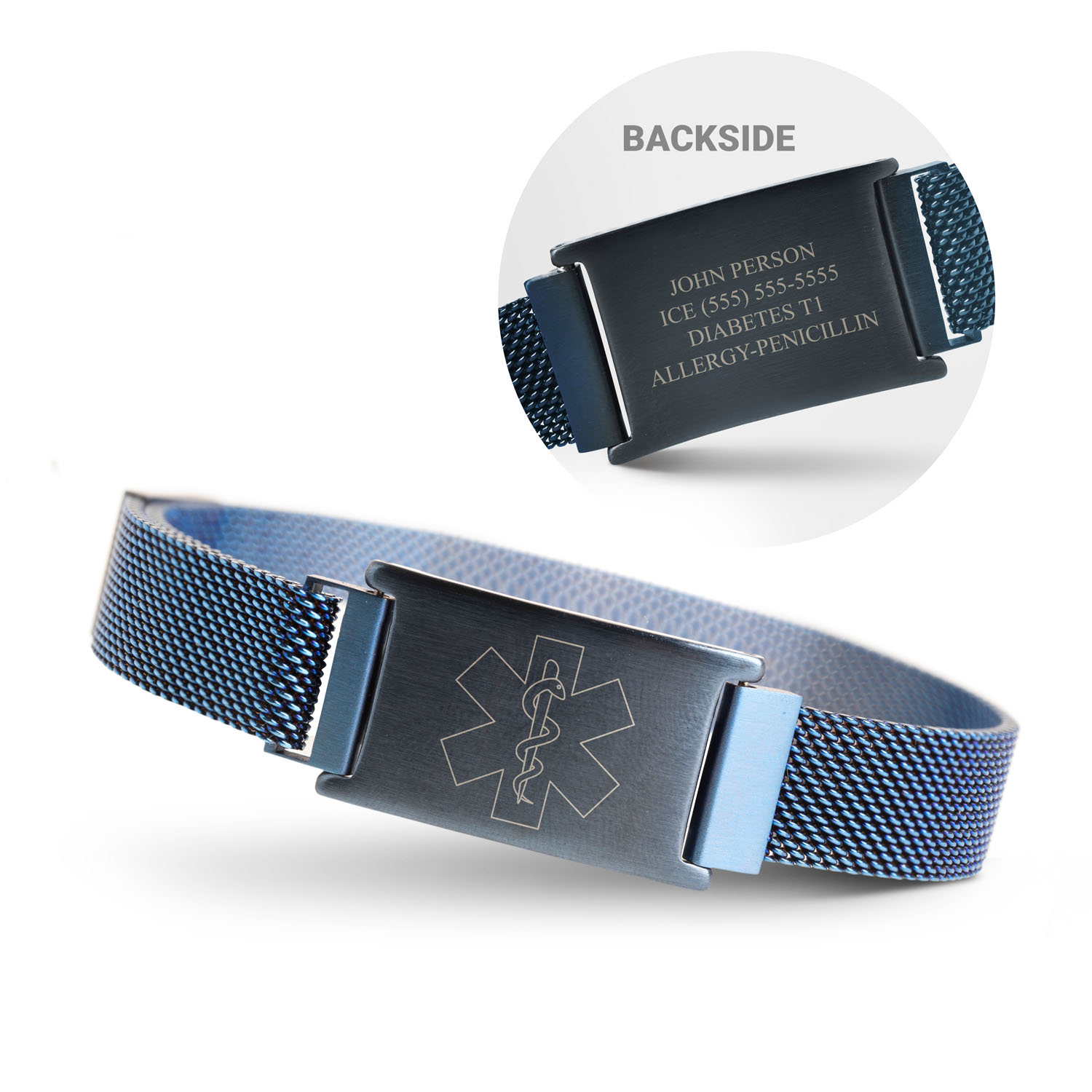 Running Adjustable Stainless Steel Magnetic Bracelet - Medic Alert with Information - Personalization Image