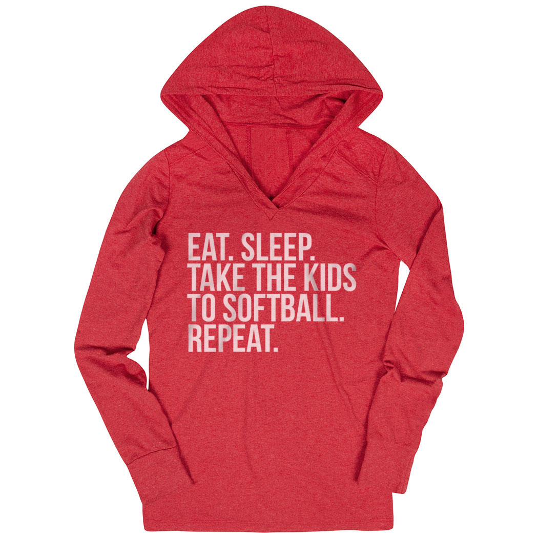 Softball Lightweight Performance Hoodie - Eat Sleep Take The Kids To Softball