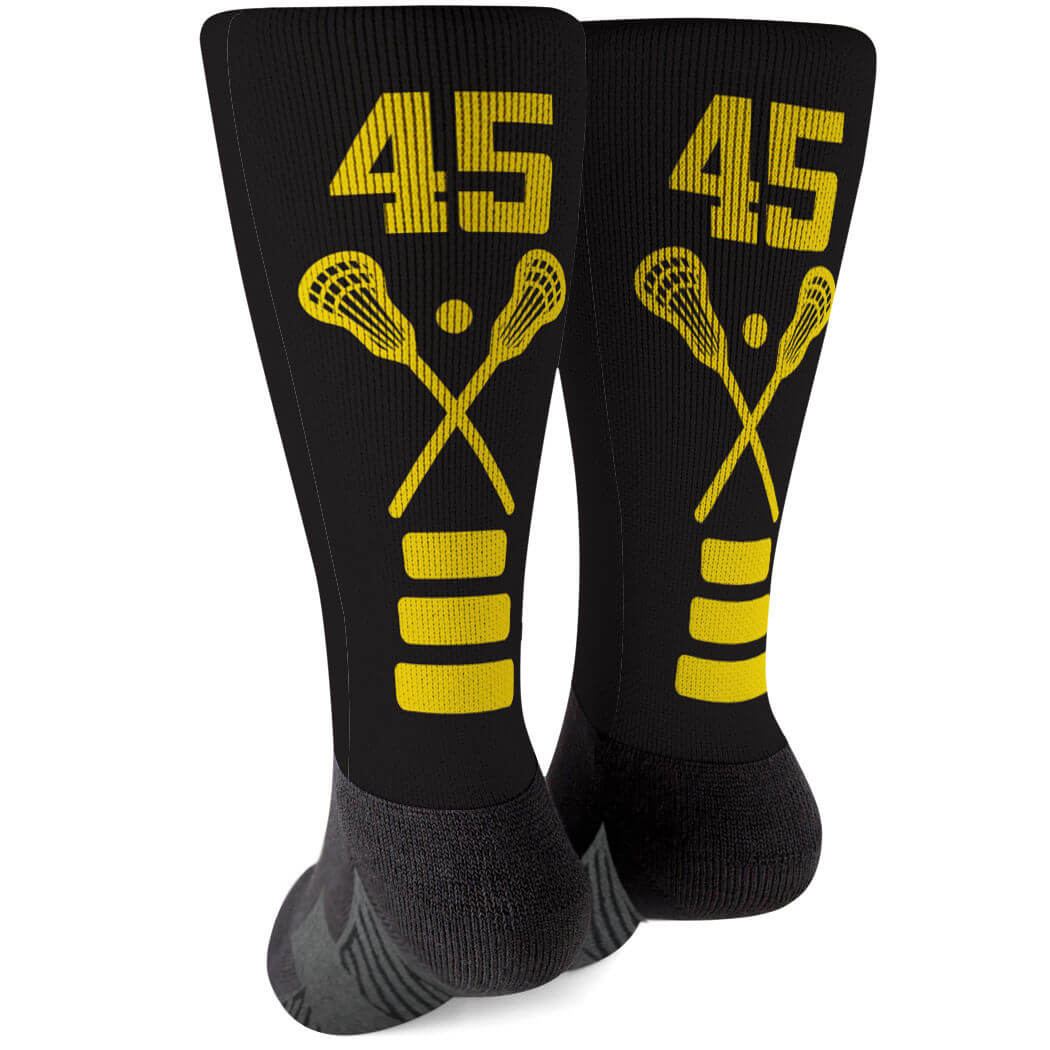 Lacrosse Printed Mid-Calf Socks - Lacrosse Stick Team Colors - Personalization Image