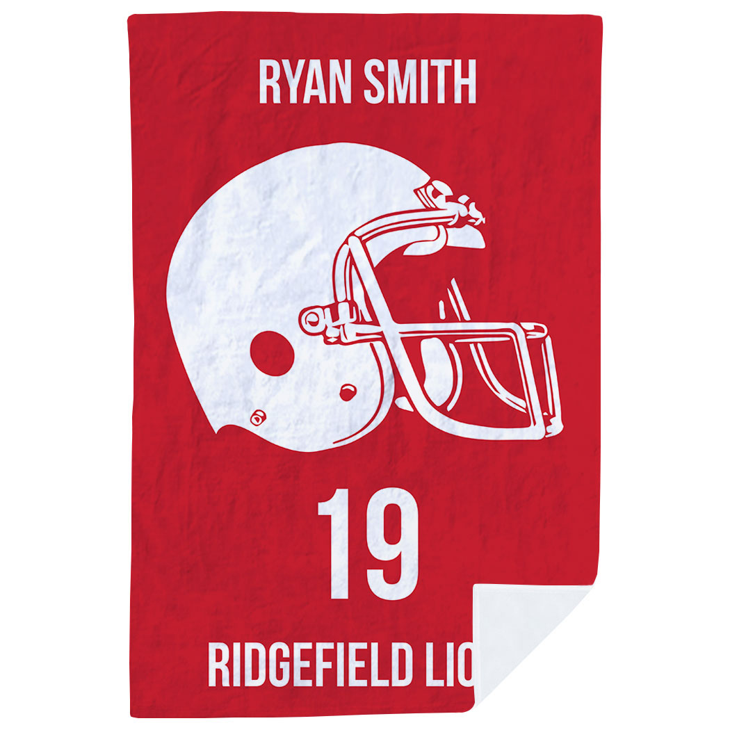 Football Premium Blanket - Personalized Helmet - Personalization Image
