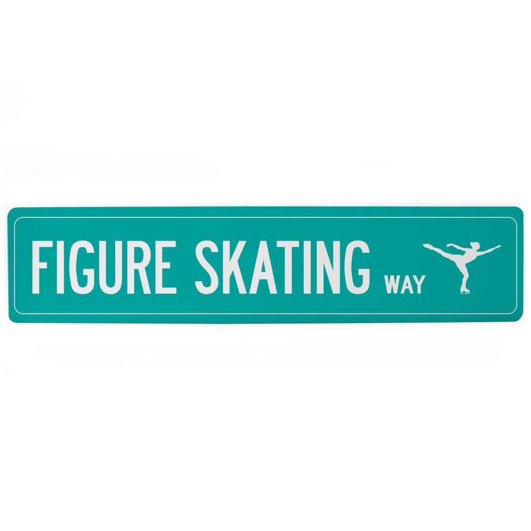 "Figure Skating Aluminum Room Sign - Figure Skating Way (4""x18"")"