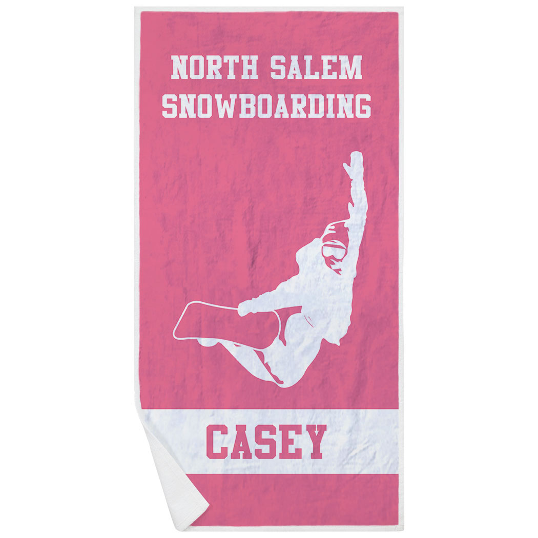 Snowboarding Premium Beach Towel - Personalized Team - Personalization Image