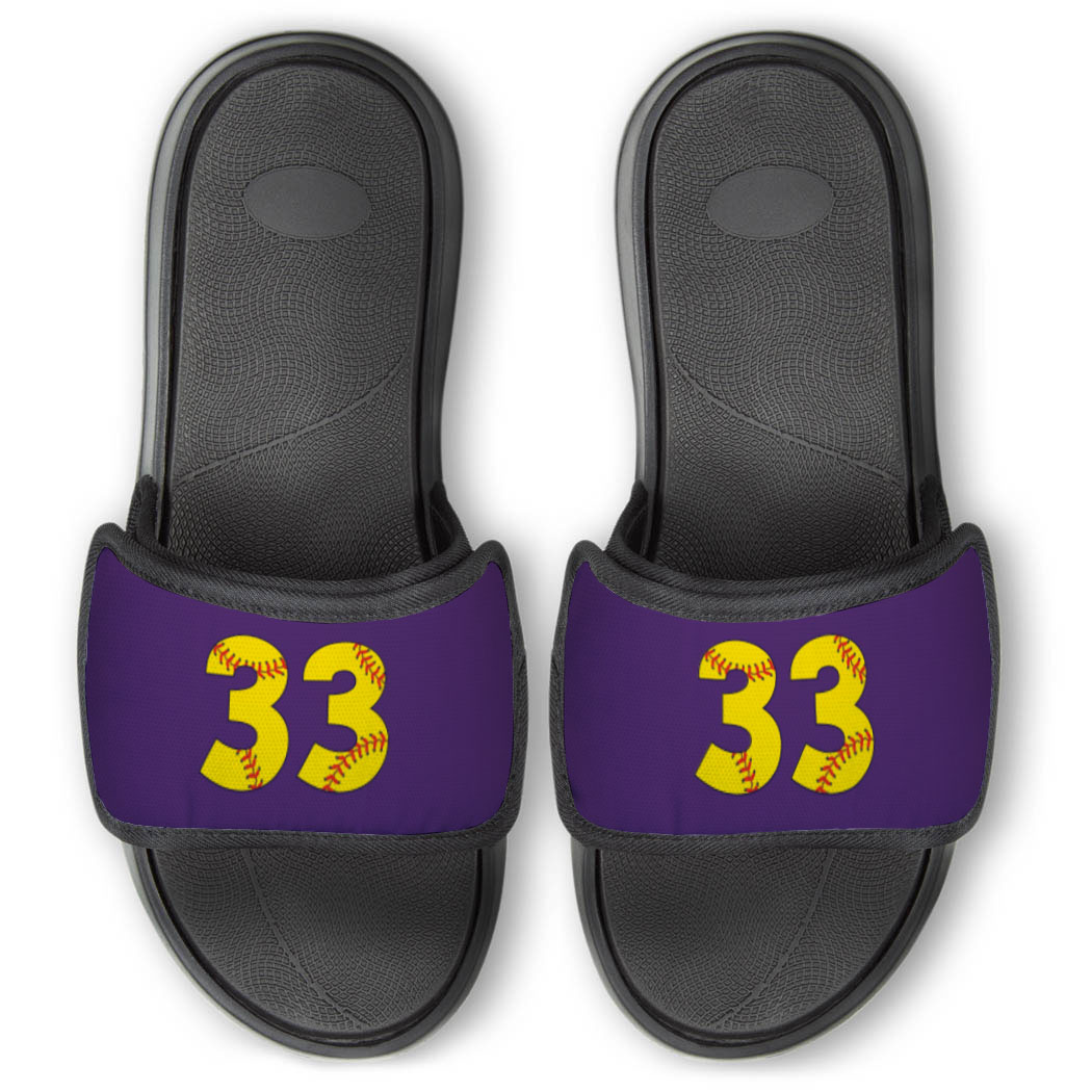 Softball Repwell® Slide Sandals - Softball Number Stitches - Personalization Image