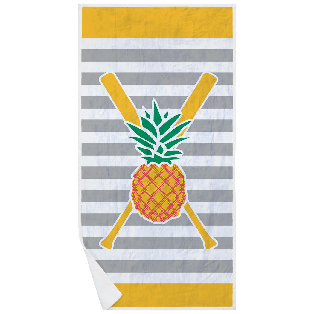 Softball Premium Beach Towel - Pineapple Stitches