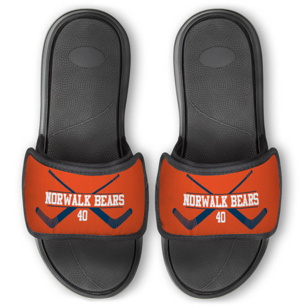 Hockey Repwell® Slide Sandals - Personalized Goalie Crossed Sticks - Personalization Image