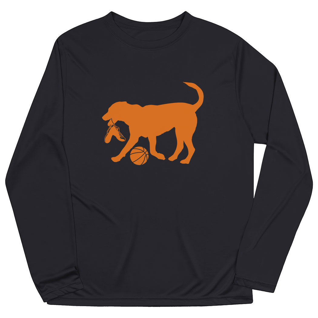 Basketball Long Sleeve Performance Tee - Baxter The Basketball Dog