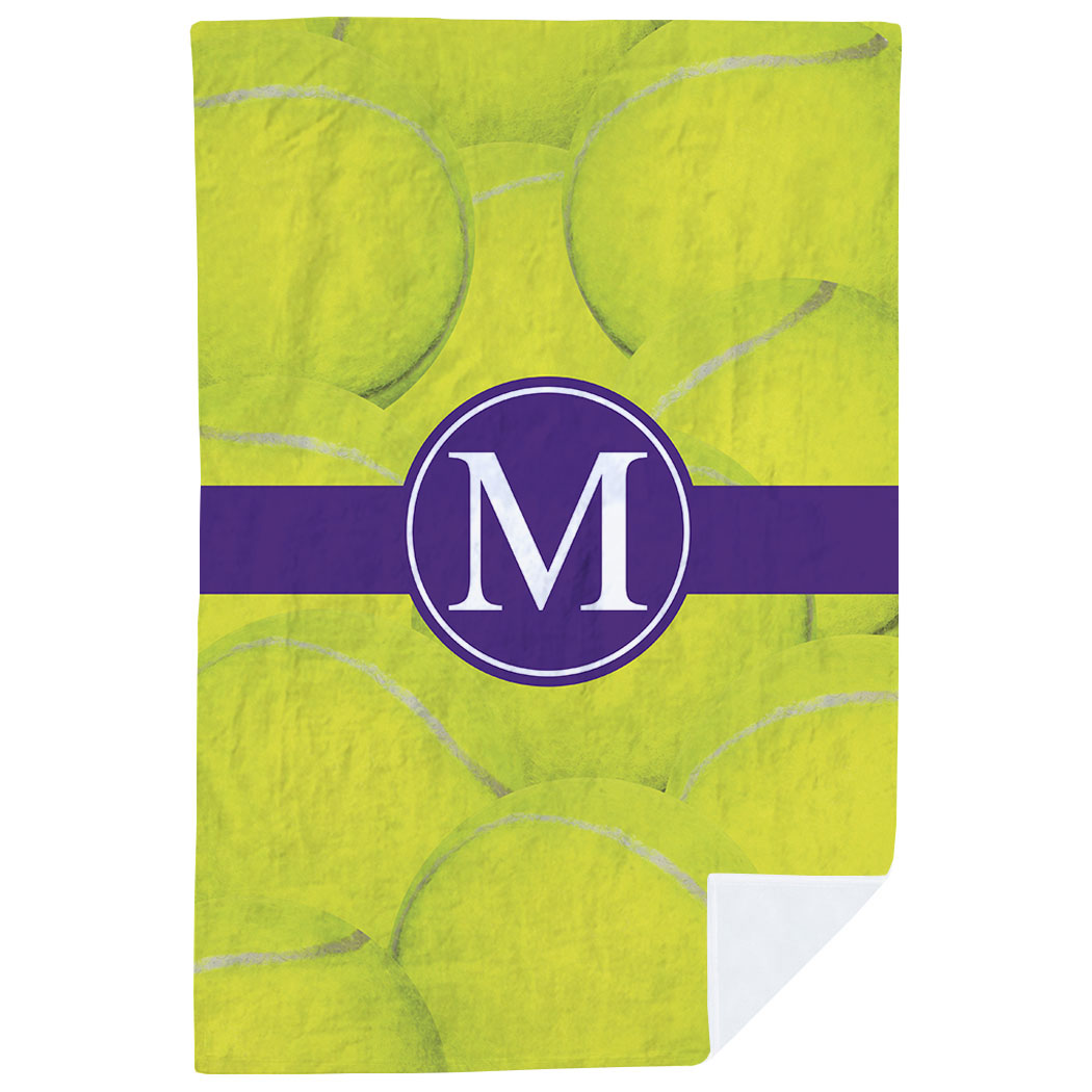 Tennis Premium Blanket - Personalized Ball Background with Monogram - Personalization Image