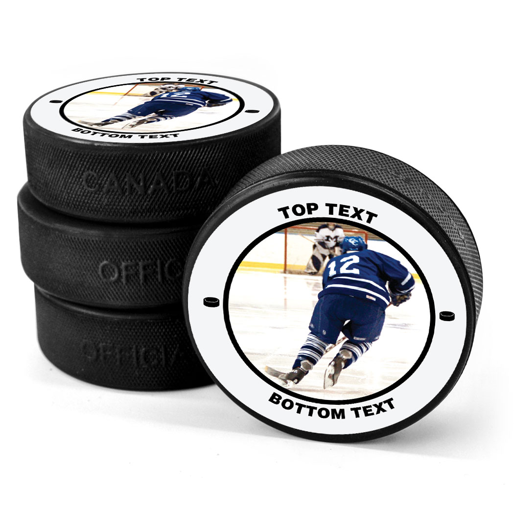 Personalized Your Photo With Text Hockey Puck Custom Pucks Chalktalk Sports
