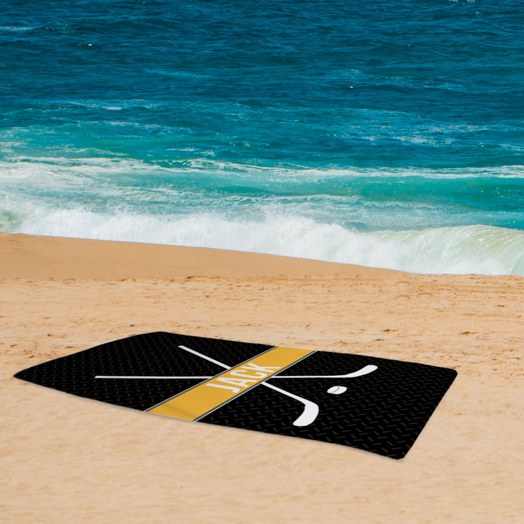 Personalized Hockey Towels: Hockey Beach Towel Personalized Crossed Sticks With Stripe