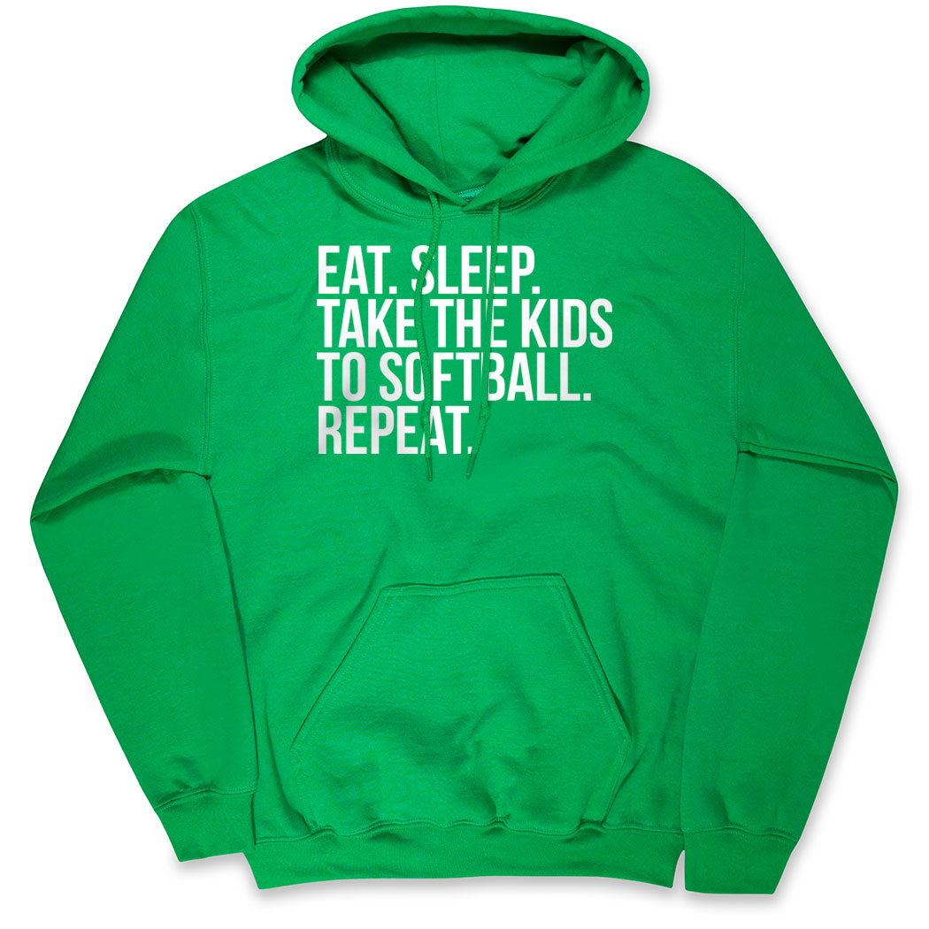 Softball Hooded Sweatshirt - Eat Sleep Take The Kids To Softball