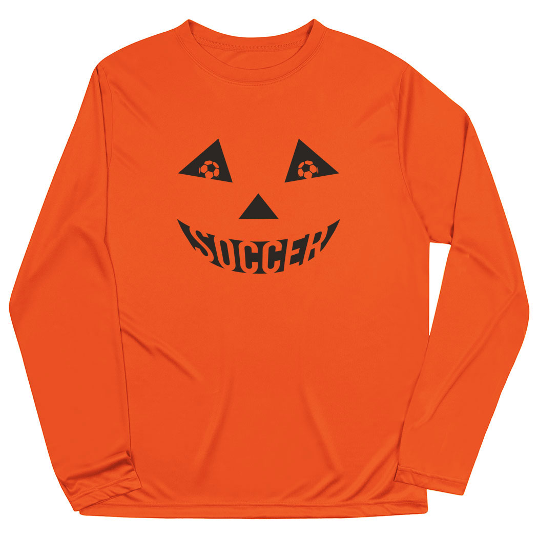 Soccer Long Sleeve Performance Tee - Soccer Pumpkin Face - Personalization Image