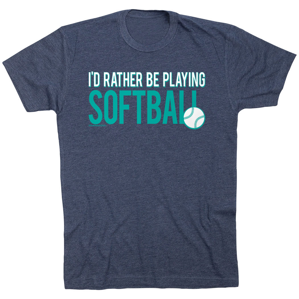 Softball Tshirt Short Sleeve I'd Rather Be Playing Softball - Personalization Image