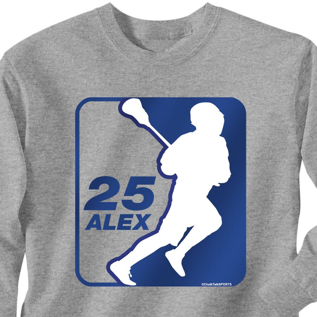 Guys Lacrosse Long Sleeve T Shirt Personalized Lacrosse