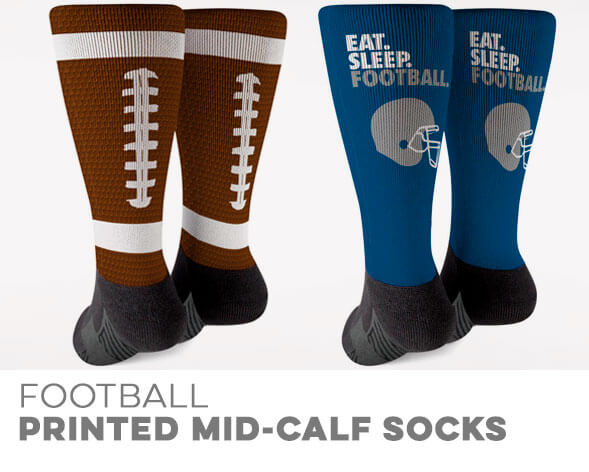 Football Printed Mid-Calf Socks