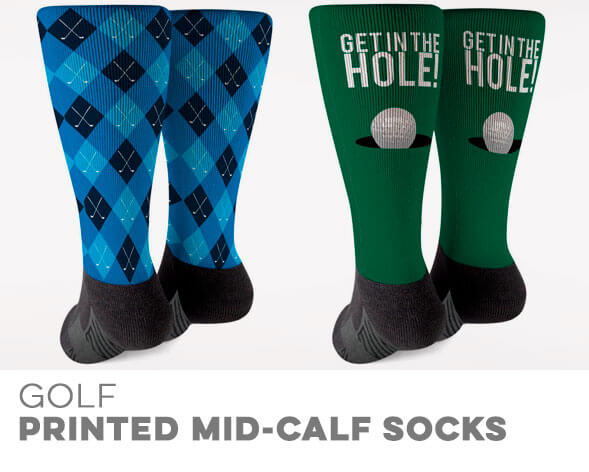 Golf Printed Mid-Calf Socks