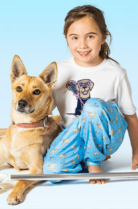 Girl Wearing Lounge Pants Lax Dog