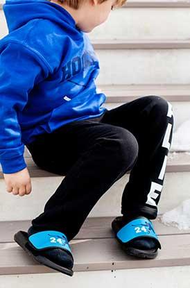 Boy Wearing Personalized Repwells - Hockey Slapshot