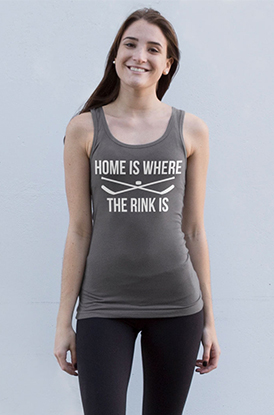 Girl Wearing Home Is Where The Rink Is Athletic Tank