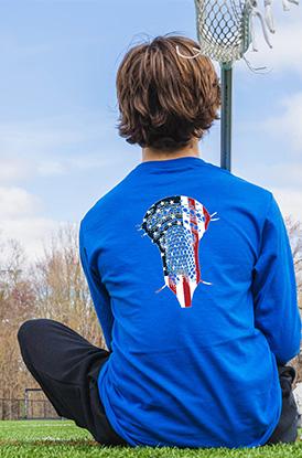 Guys Lacrosse Patriotic Stick Long Sleeve Tee