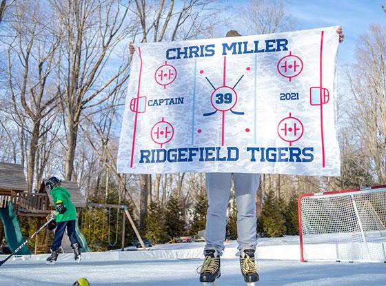 Personalized Hockey Rink Blanket Lifestyle