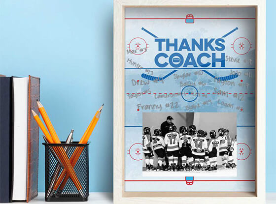 Autograph your name on the this premier wooden coaches frame