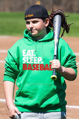 Shop Eat Sleep Baseball Hooded Sweatshirt