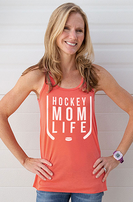 Woman Wearing Hockey Mom Life Racerback Tank