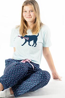 Female Wearing Lax Lounge Pants Herringbone