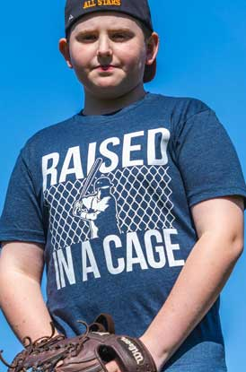 Shop Raised In A Cage Baseball Short Sleeve Tee