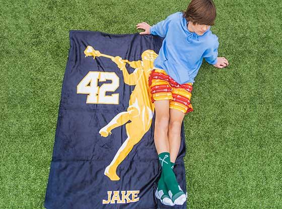 Lacrosse Blankets - Jump Shot Silhouette