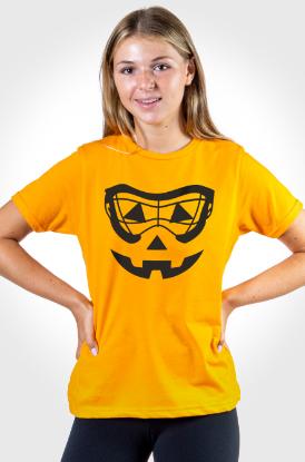 Girls Lacrosse Google Pumpkin Face T-Shirt