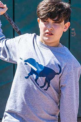 Shop Long Sleeve Baseball Tee Navy Baseball Dog
