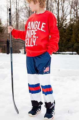Boy Wearing Hockey Lounge Pants Player