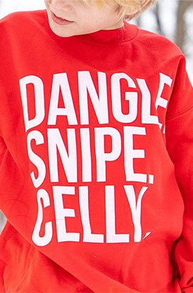 Kid Wearing Dangle Swipe Celly Crew Neck Red