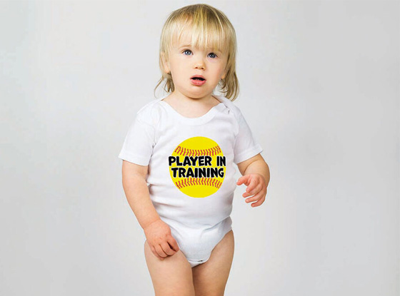Player In Training Softball Baby One Pieces