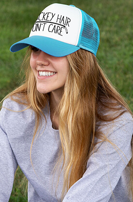 Hockey Hair Don't Care Trucker Hat Lifestyle