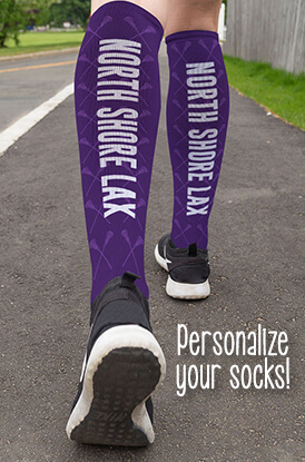 Girls Lacrosse Team Name Printed Knee High Socks