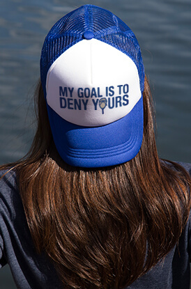 My Goal Is To Deny Yours Goalie Stick Trucker Hat