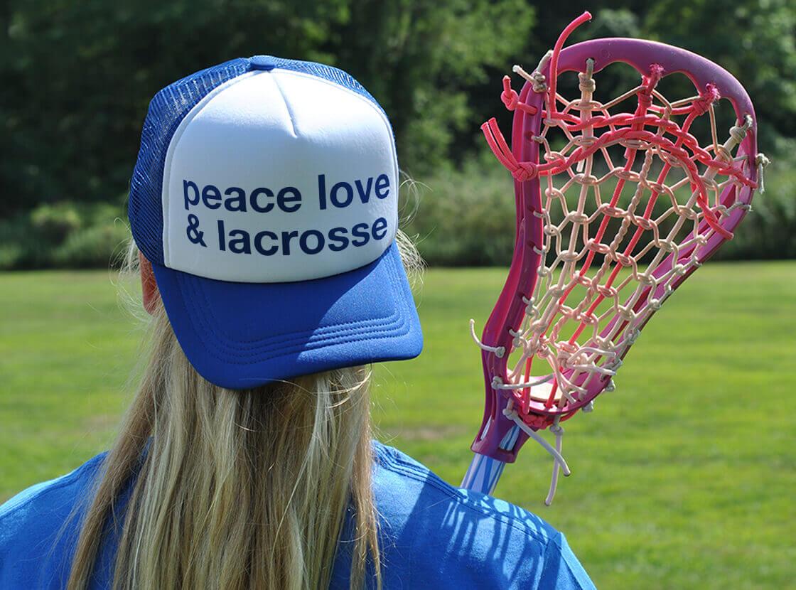 Peace Love Lacrosse Trucker Hat