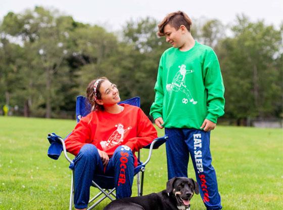 Shop Soccer Santa Crew Neck Sweatshirts